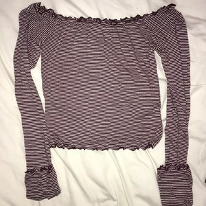 F21 striped off the shoulder top